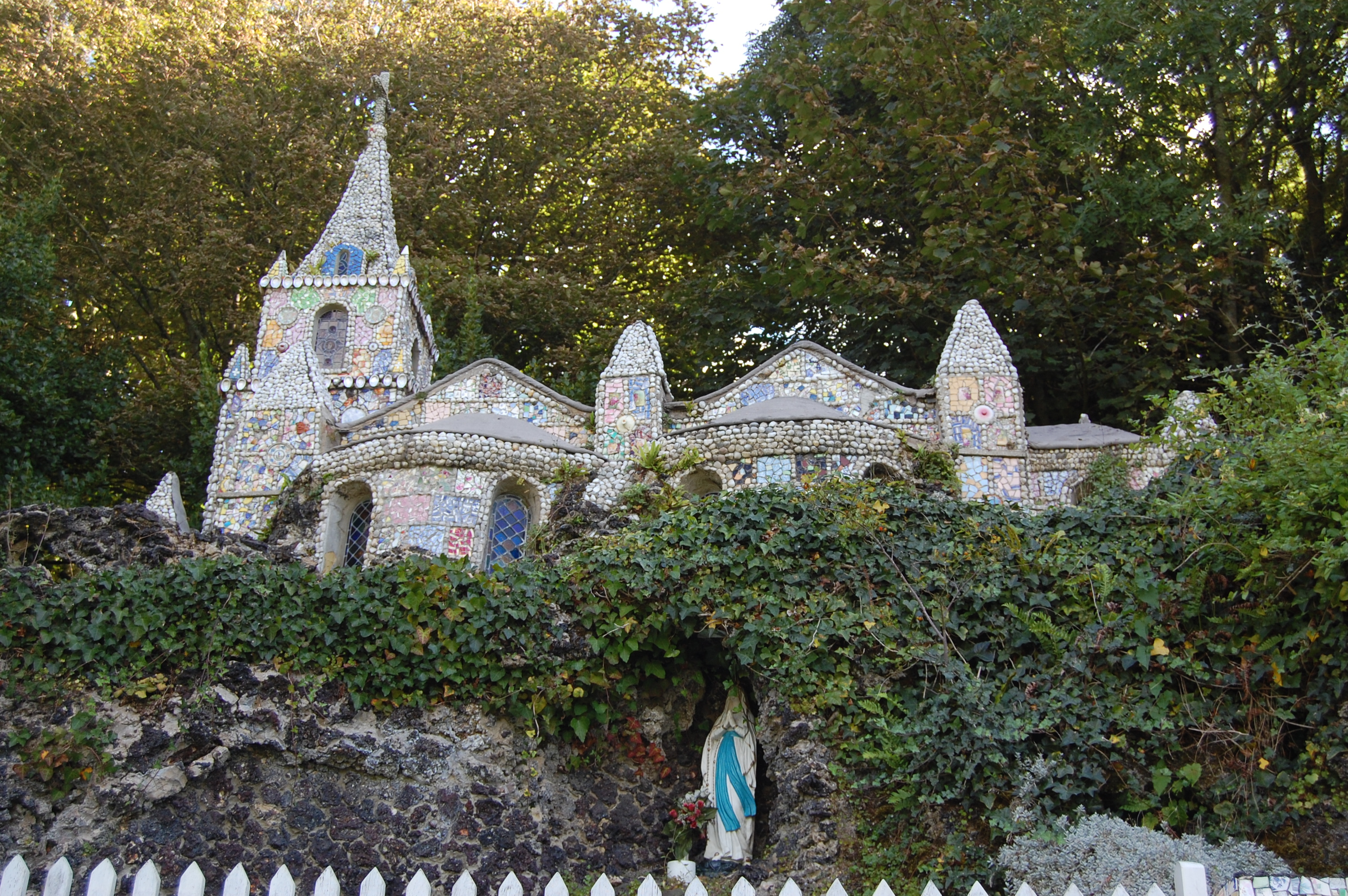 the Little Chapel, The Guernsey Literary and Potato Peel Society, church made of a mosaic of broken ceramics, church made of broken pottery, real places from Guernsey Literary and Potato Peel Society