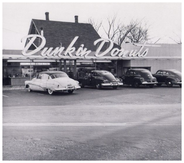 Black and white photo from Dunkin Dount's early days
